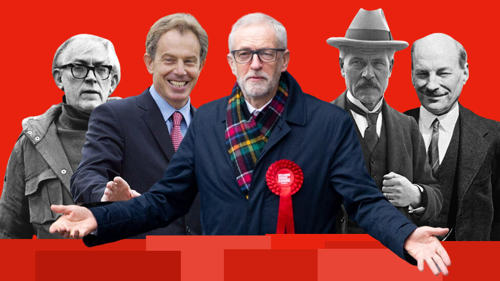 Image of: Michael Foot, Tony Blair, Jeremy Corbyn, Ramsay MacDonald and Clement Atlee