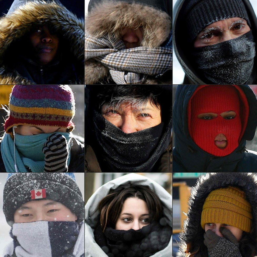 Pedestrians protecting their faces from the cold in New York City, in Washington DC, along Lake Michigan's ice covered shoreline, in the Brooklyn borough of New York, in Chicago, in Kingston, Ontario, and in Montreal