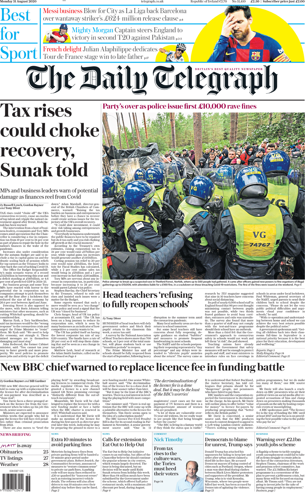 The Daily Telegraph front page 31 August 2020