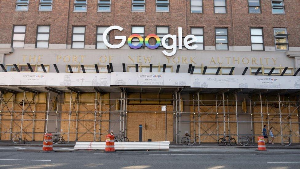 被木板圍封的谷歌紐約辦公大樓(21/6/2020)