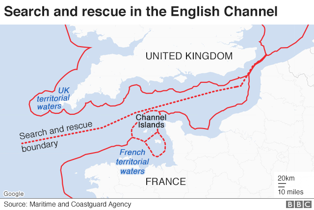 Map showing search and rescue areas