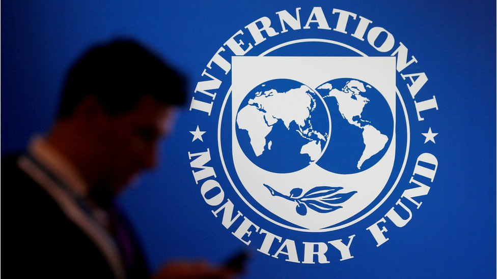 FILE PHOTO: FILE PHOTO: A participant stands near a logo of IMF at the International Monetary Fund - World Bank Annual Meeting 2018 in Nusa Dua, Bali, Indonesia, October 12, 2018. REUTERS/Johannes P. Christo/File Photo/File Photo