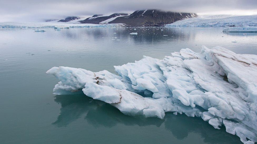 Apungan es di dekat Spitsbergen, Svalbard