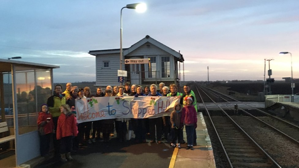 Train passengers seeking mince pies at Shippea Hill station