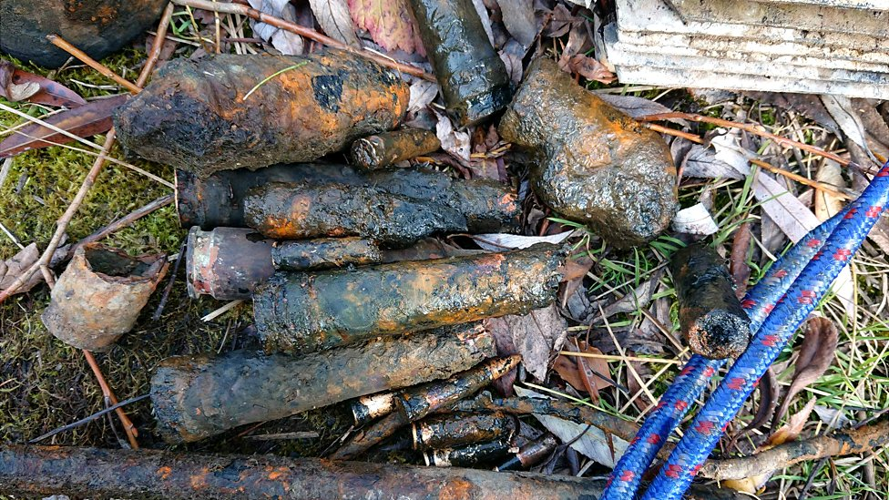Old WW2 ammo fished out of pond near Gotha