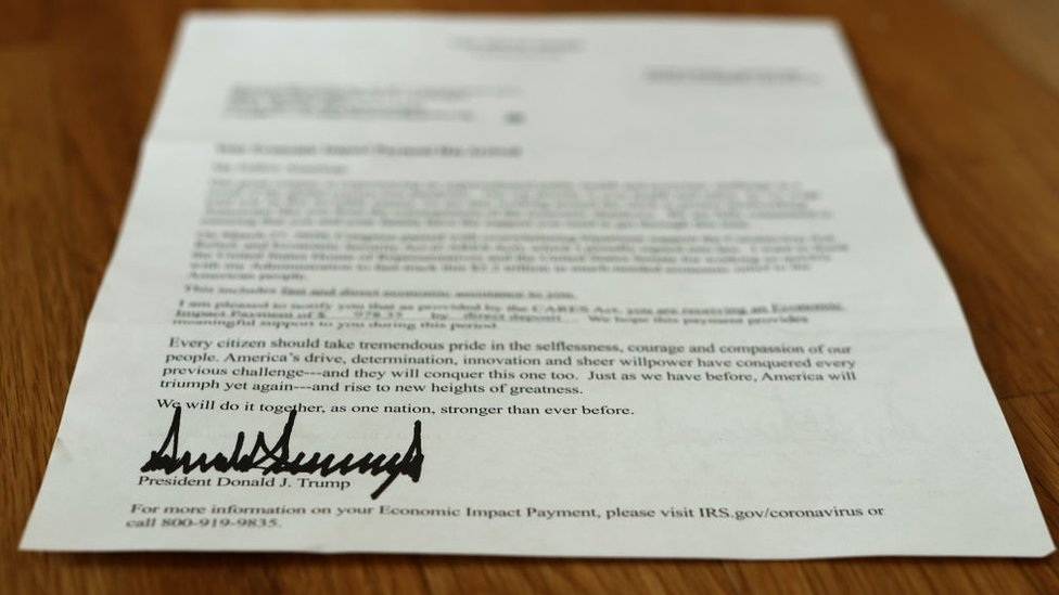 Stimulus cheque letter signed by Trump