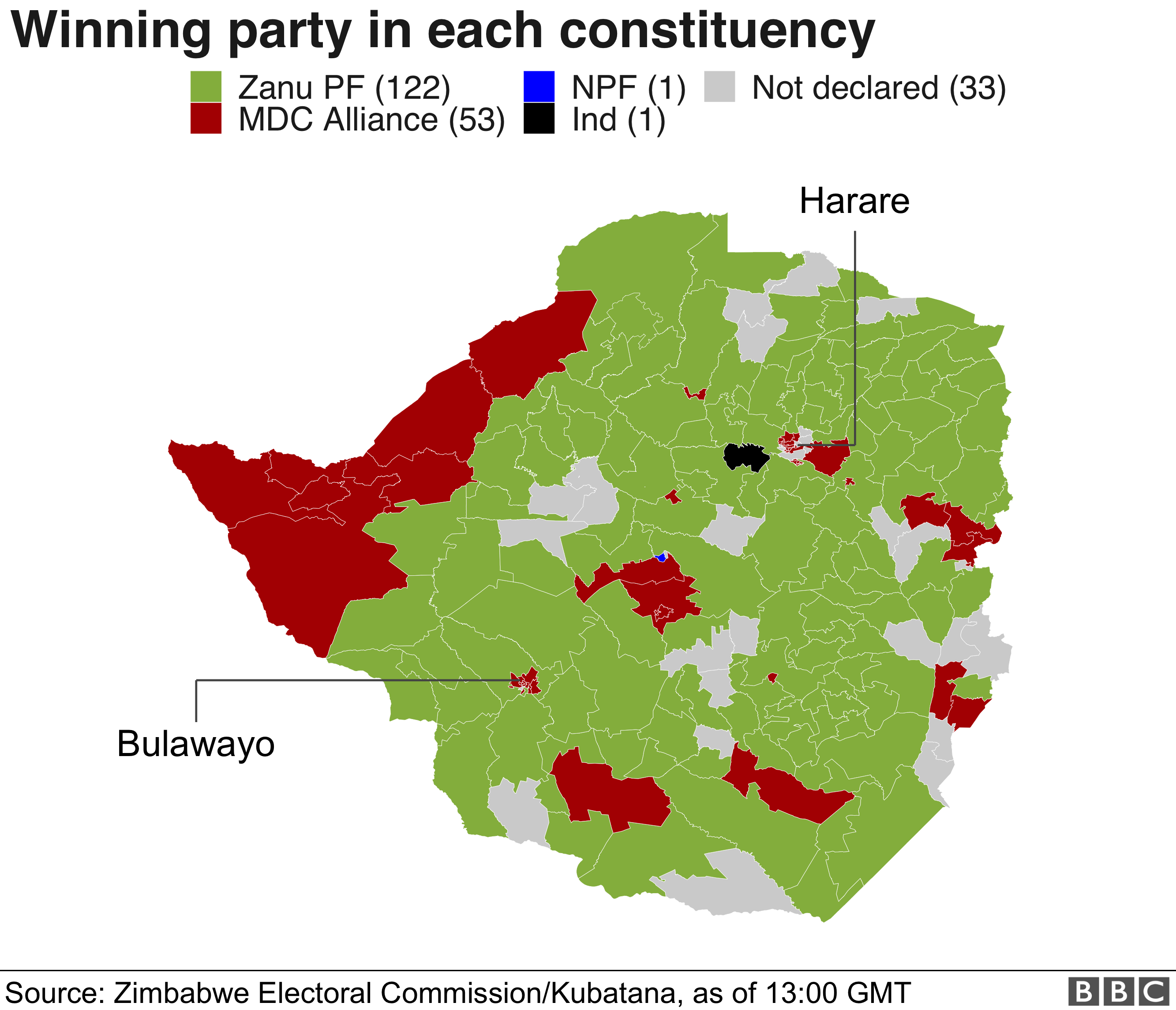 Zimbabwe election winners' map. MDC Alliance did better in the big cities, but Zanu PF dominated the rural areas