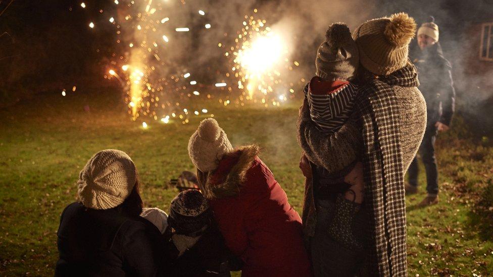 People lighting fireworks in their garden
