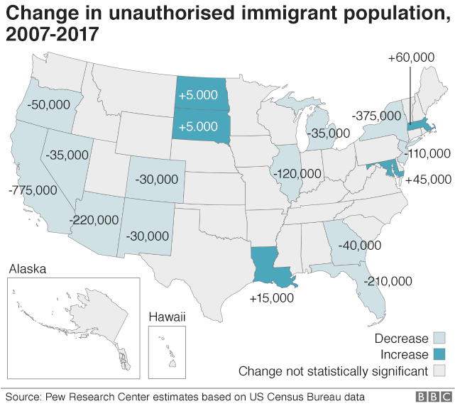 US map showing changes in undocumented immigrant population from 2007 to 2017