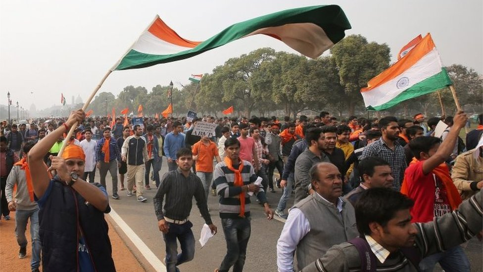Indian student activists of the student organization Akhil Bharatiya Vidyarthi Parishad (ABVP) participate in a protest march at Rajpath against a group of Jawaharlal Nehru University (JNU) students for shouting anti-national slogans in New Delhi, India, 12 February 2016.