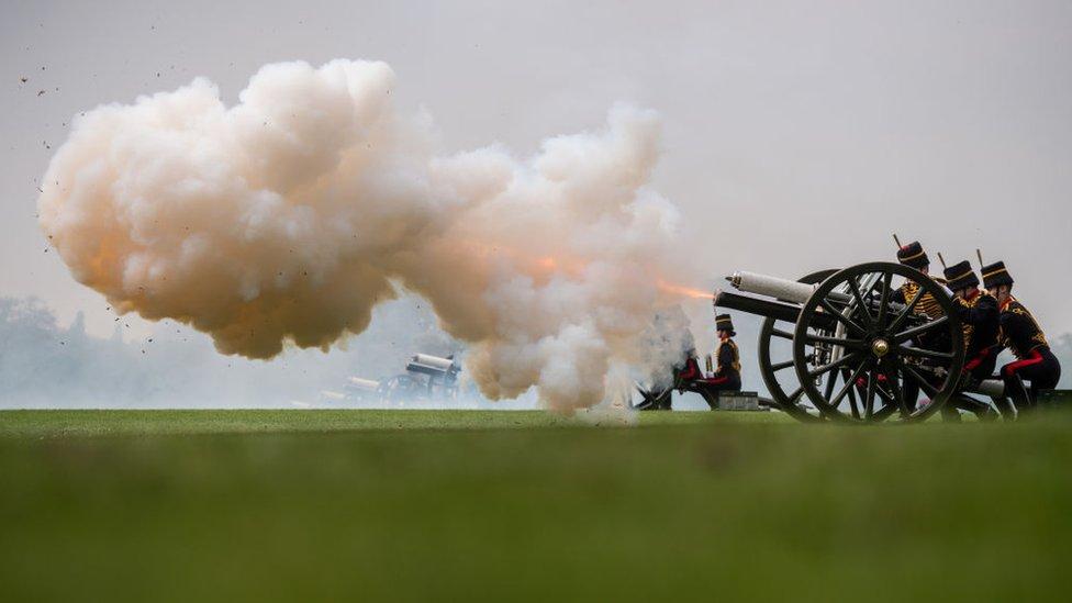 The Royal Horse Artillery firing a 41 gun salute to mark the Queen's birthday
