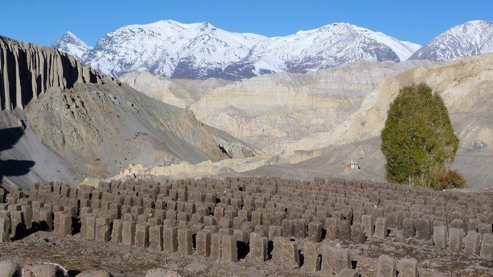 A brickyard high in the Nepalese Himalaya
