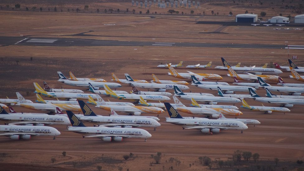 Aircraft in storage at APAS in Alice Springs