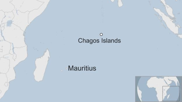 Map showing Chagos Islands and Mauritius