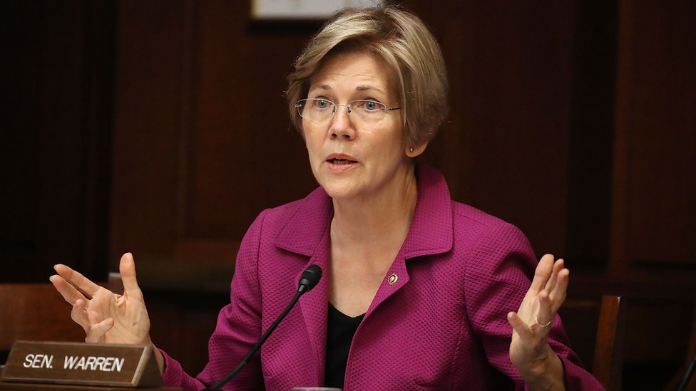 US Senator Elizabeth Warren speaks during the Democratic Policy and Communications Committee hearing in Washington, DC.
