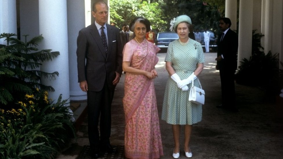 Queen Elizabeth II and the Duke of Edinburgh with India's Prime Minister Indira Gandhi during Royal visit to India 1983