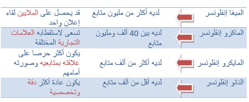 يُقسم المؤثرون عادة إلى أربعة أنواع من حيث العدد