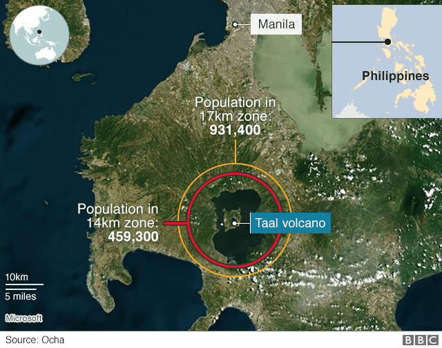A map showing Taal volcano south of Manila