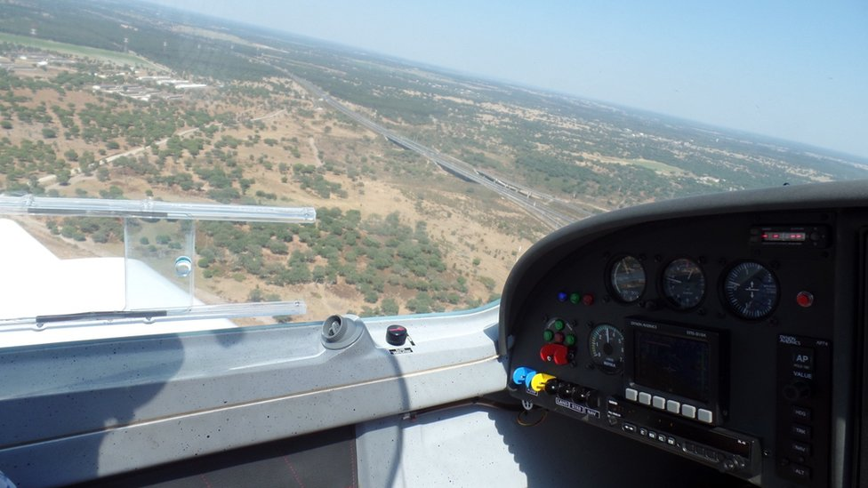 View from cockpit on flight