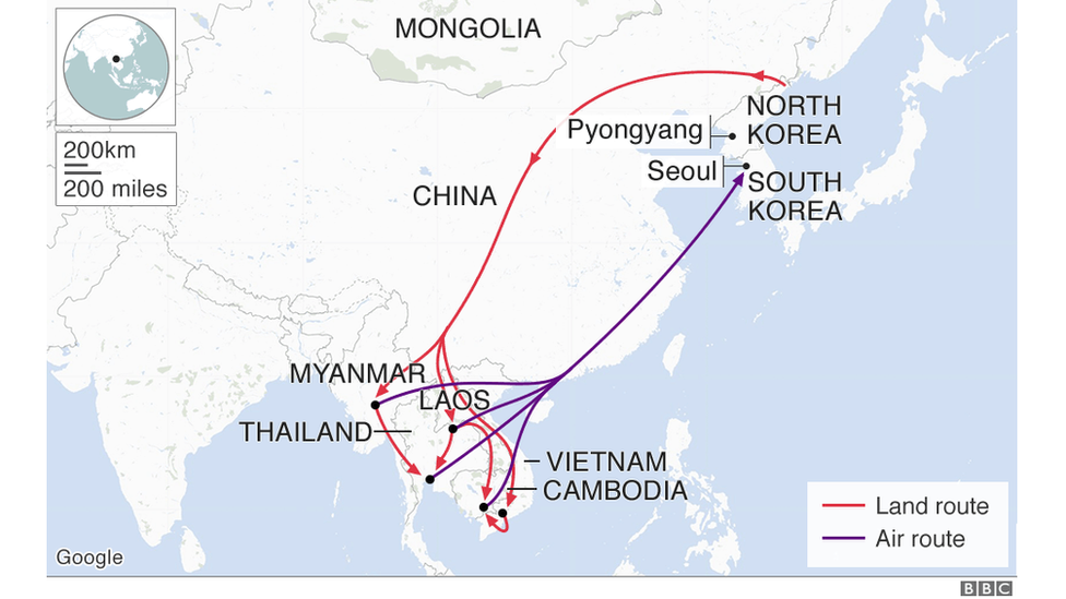 The main routes taken by defectors wishing to escape North Korea and seek asylum in South Korea