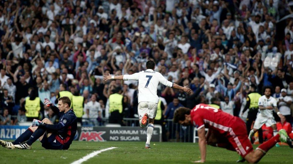 Cristiano Ronaldo celebrates a goal against Bayern Munich in 2017