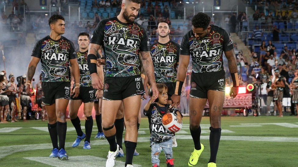 Quaden Bayles with Indigenous All-Stars Rugby League team - 22 February