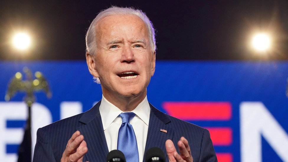 Joe Biden en un discurso en Wilmington el 6 de noviembre