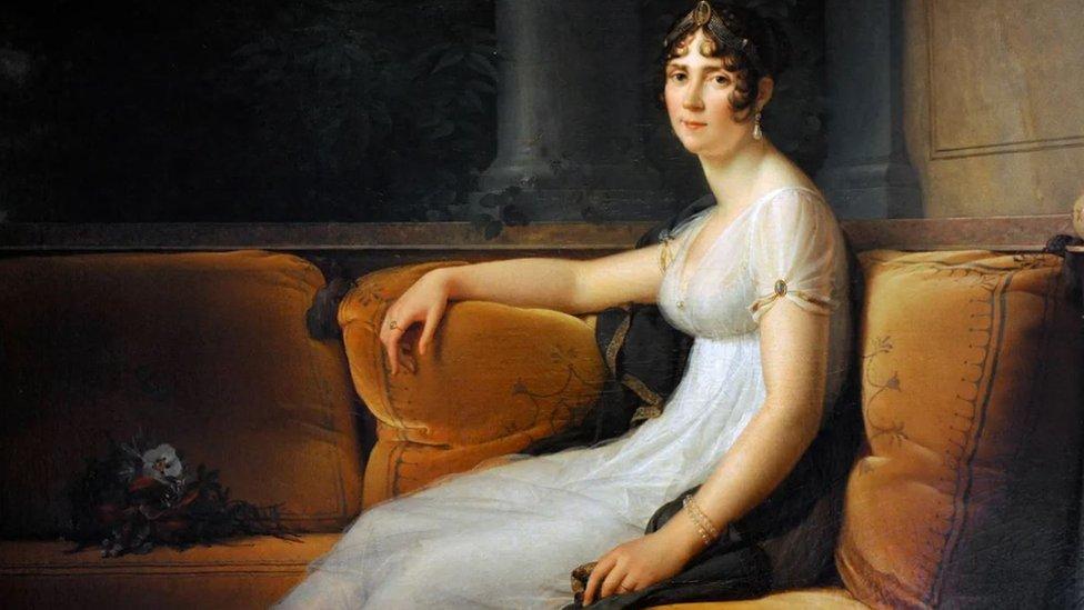 Retrato de Josefina Bonaparte con un vestido de muselina de Dhaka.