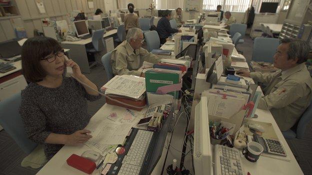Koreisha office in Tokyo, people on phones