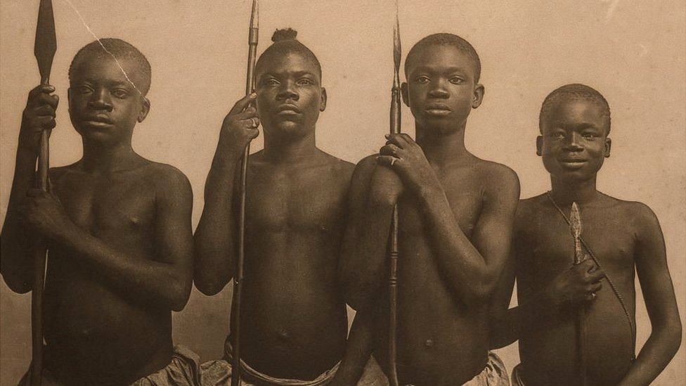 A photo of four Africans, including Ota Benga on the right, taken in 1904 during the World's Fair in St Louis
