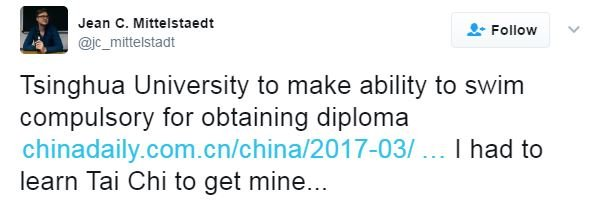 """Twitter user Jean Mittelstaedt writes: """"Tsinghua University to make ability to swim compulsory for obtaining a diploma. I had to learn Tai Chi to get mine."""""""