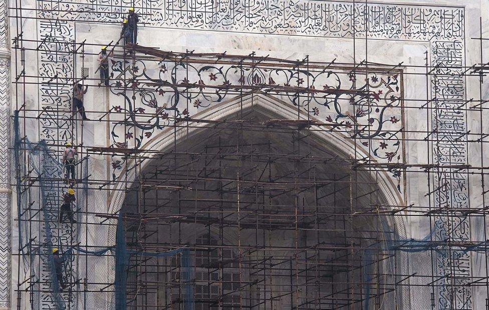 The government conducts regular restoration work on the Taj Mahal