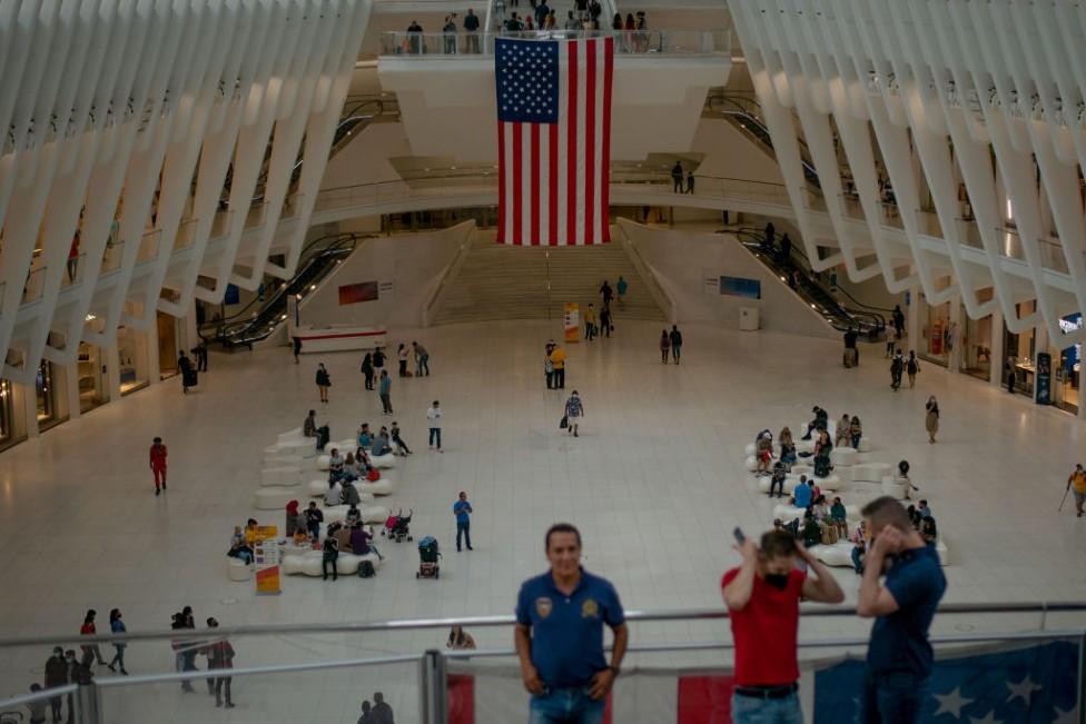 Bandera de EE.UU. en el World Trade Center