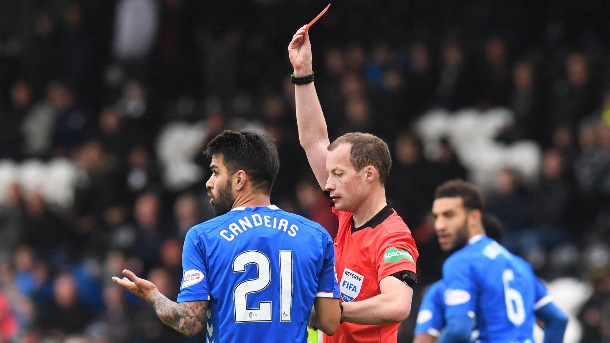 Daniel Candeias: Rangers winger's second yellow card v St Mirren for 'gestures' to Anton Ferdinand