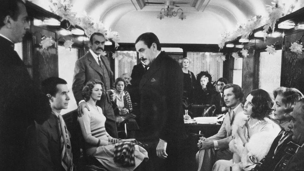 "Hercule Poirot (Albert Finney) in Christie's Murder on the Orient Express – the Belgian detective """