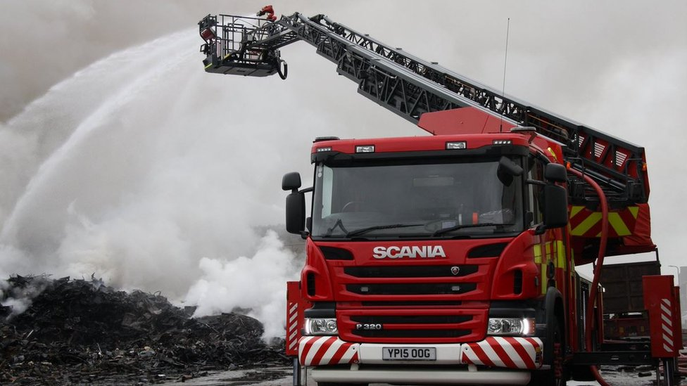 More than 30 firefighters attended the blaze at its height, and about 20 were still on site on Tuesday