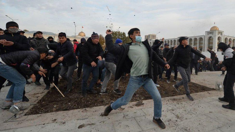 Supporters of politician Sadyr Japarov fought with protesters supporting former president Almazbek Atambayev in Bishkek