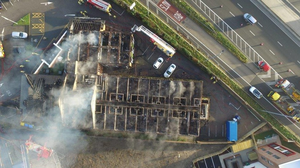 drones aerial footage of the Gateway to Wales Hotel in Deeside