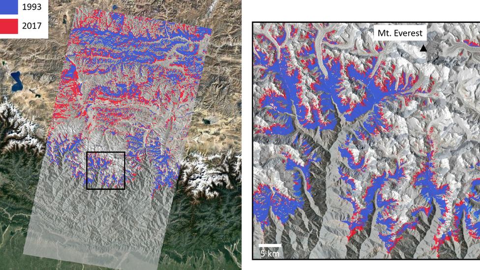 La extensión de la vida vegetal en 1993 (azul) en comparación con 2017 (rojo). Las imágenes son de los alrededores de la región del monte Everest.