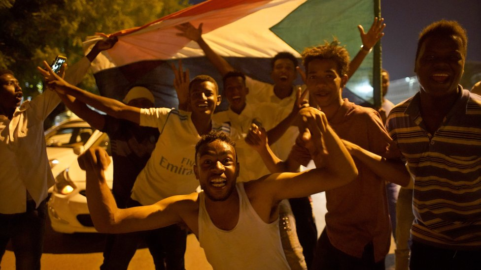 Sudanese demonstrators in Khartoum celebrating