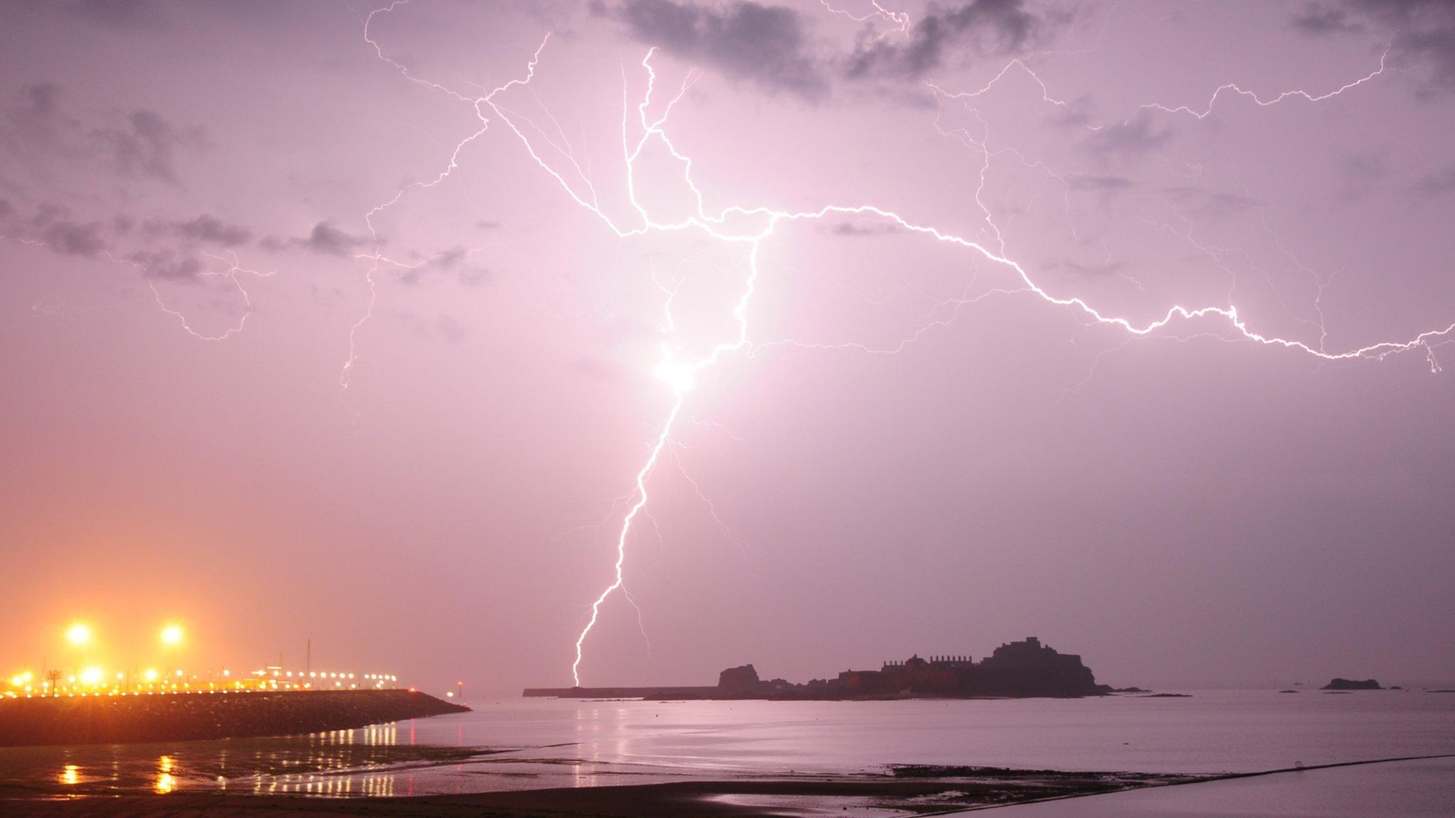 Lightning over St Aubin's Bay, Jersey