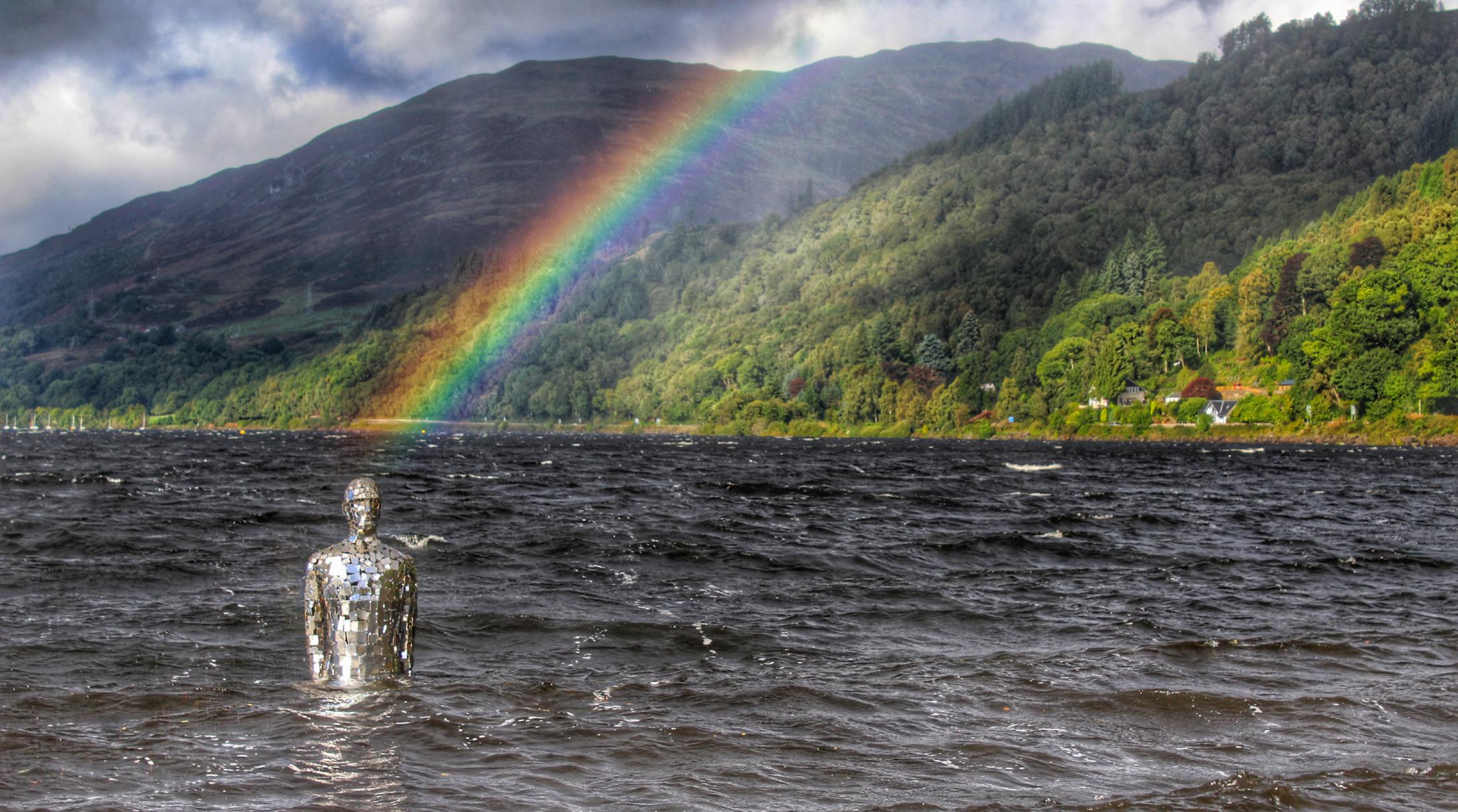 Mirror man with rainbow