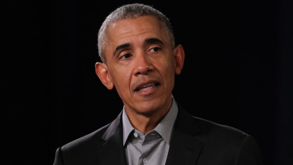 Barack Obama en una conferencia en Berlín, Alemania