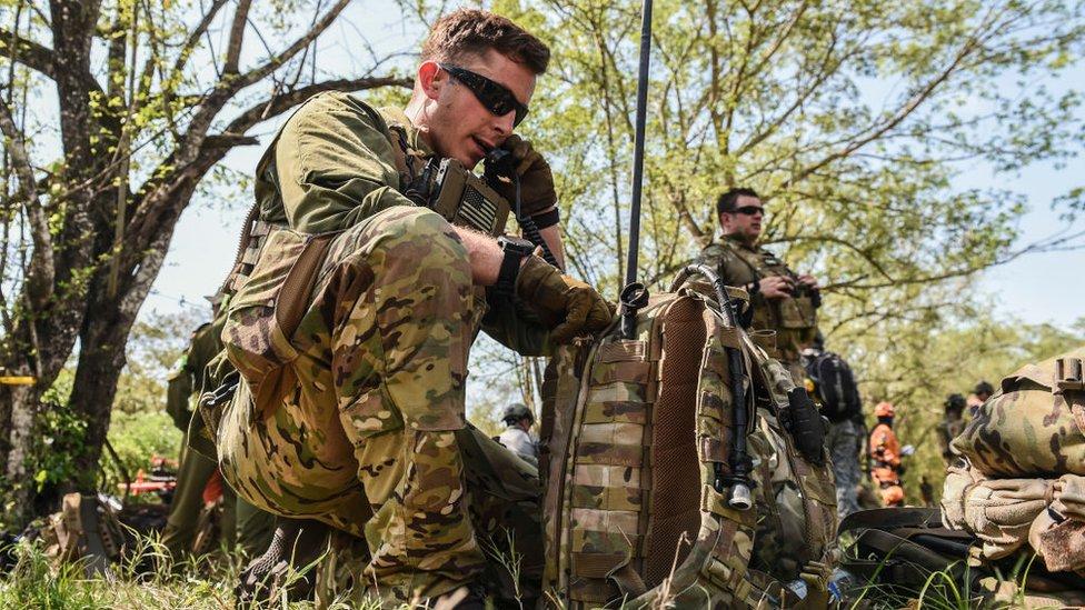 Soldados estadounidenses durante un ejercicio en Colombia
