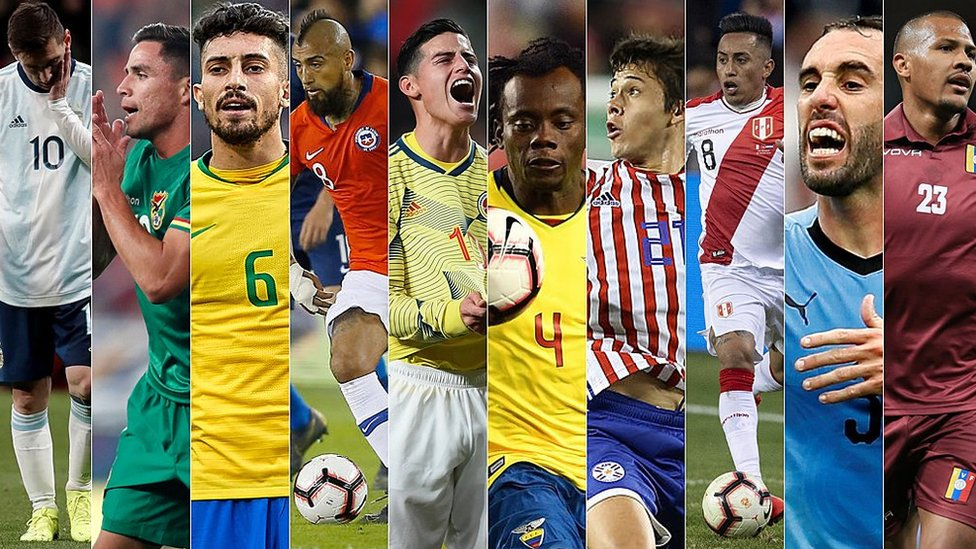 Jugadores de las 10 selecciones sudamericanas.