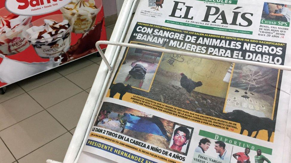 Portada de periódico en San Pedro Sula.
