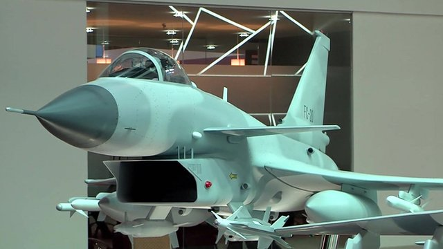 A fighter jet on display at the Singapore Airshow 2016