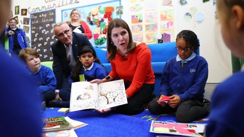 Jo Swinson with pupils at Trumpington Park Primary School in Cambridge