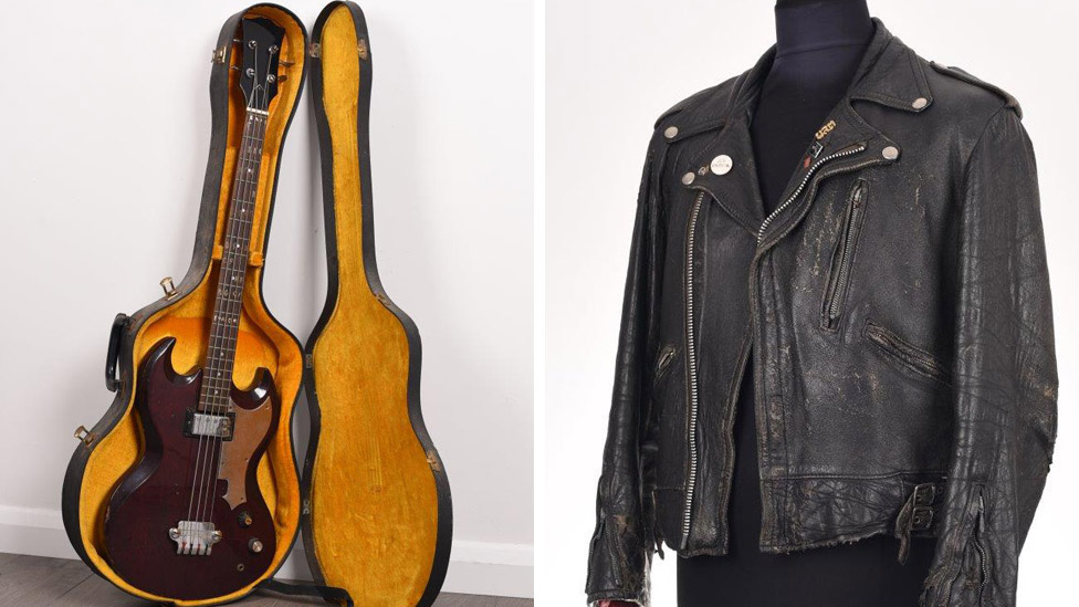 Peter Hook's Gibson EB-0 replica bass and well-worn leather jacket