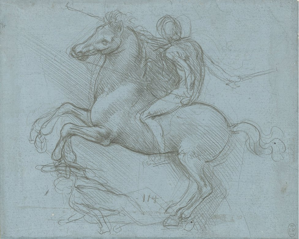 A drawing of a horse and rider by Leonardo da Vinci